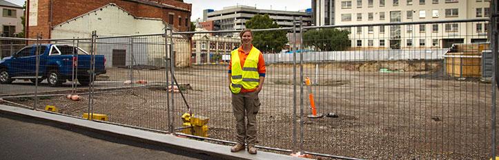 Apprentice on building site - Tasmanian Building Group Apprenticeship scheme